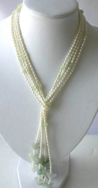 "51"" 2-rows 3-4mm white pearl green jade necklace"