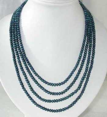 "19""-23"" 4-rows 5-6mm dark blue pearl cameo clasp"