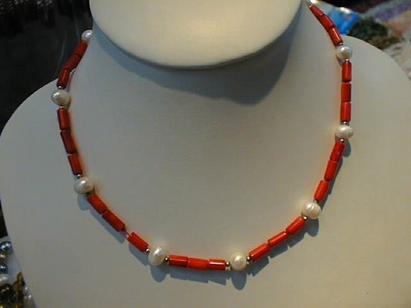 "16"" coral tube shape necklace & pearl"