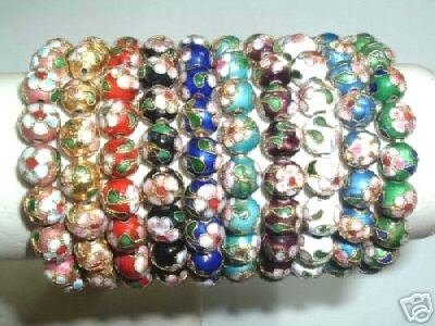 wholesale 10 pieces 10 mm cloisonne bead bracelet
