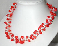 Elegant 18'' double 8-9mm white pearl pink coral necklace