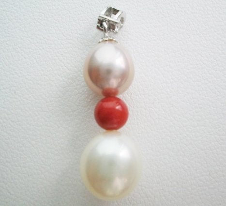 Pearl pendant on sterling silver bail - Pearl & Coral