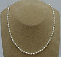 17'' 4-5mm rice white pearl necklace heart