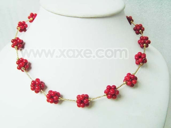 "17"" 14mm red coral ball gold plated chain necklace"