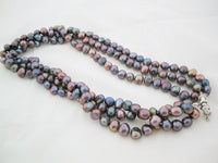 3 rows peacock black freshwater pearl necklace