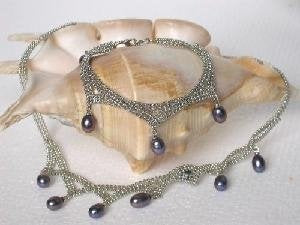"Beautiful! 17.5"" 18k black pearl Necklace& matching 8"" bracelet"