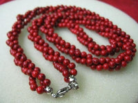 "17.5"" 3-strands red coral beads necklace"
