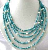 "18""-24""5-rows blue turquoise bead pearl & turquoise clasp"