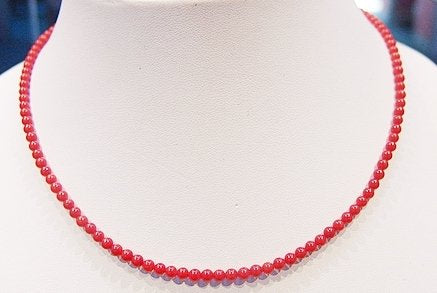 Natural red 4mm blood coral round bead necklace 14k