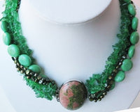 "charming 18"" 5 strands green pearl turquoise necklace"