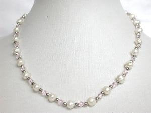 "Beautiful! 16"" 6-6.5mm white cultured FW pearl&crystal Necklace"