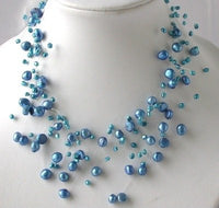 "16"" fantastic blue FW pearl necklace"
