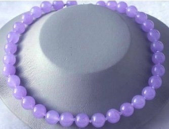 "Beauty 17"" 12mm lavender round jade necklace"