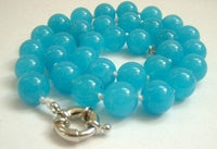 Graceful 12mm AA sky-blue Jade Bead Necklace