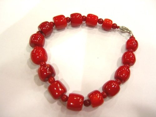 8'' barrel shape coral bead bracelet