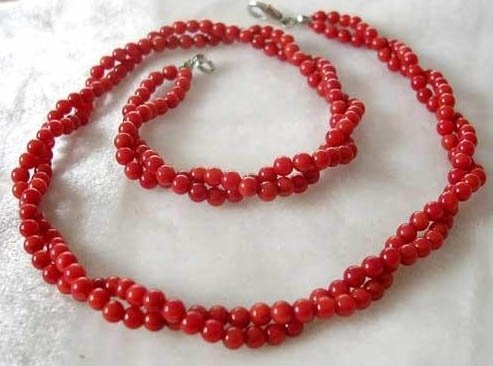 19'' 2 strands 4mm red coral beads necklace 925 silver