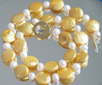 14mm Gold Fresh Water Coin and 8mm Round Pearl necklace