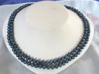 "Beautiful! 17""-19"" 2rows blue cultured freshwater pearl necklace"