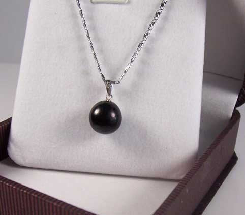 Huge black pearl pendant sterling silver
