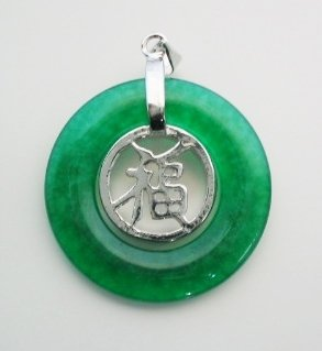 30mm green jade pendant good fortune