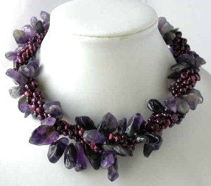 "16"" 4-rows wine red pearl amethyst necklace"