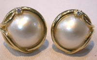 14K YG Exquisite Genuine white Mabe Pearl set