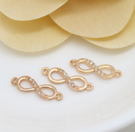 5 pcs 24k gold plated zircon number eight shape brass spacer beads  brass caps brass connector