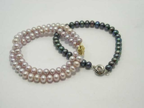 Wholesale 2-pcs lavender black cultured pearl bracelets