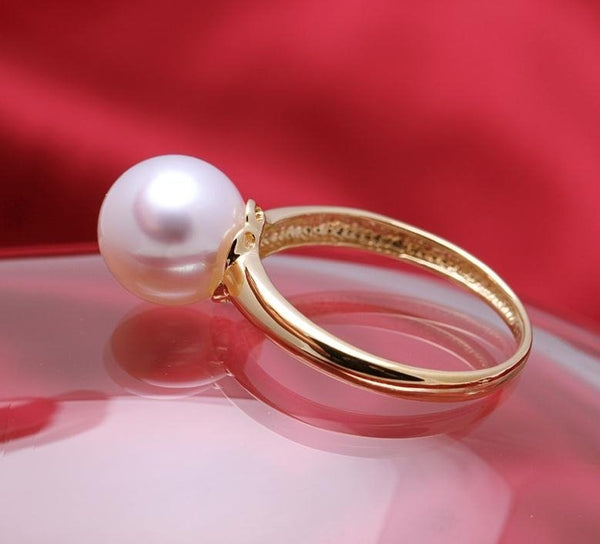 9-10mm AAA round white pearl ring 18k solid gold