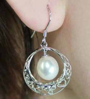 8-9mm white pearl earring sterling silver
