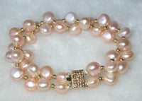 Beauty 7.5'' double 8-9mm pink pearl bracelet