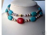 Excelent single row turquoise cultured pearl necklace