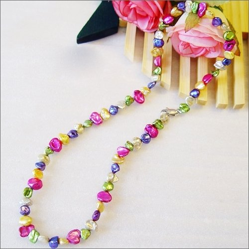 "17"" colorful 7-8mm pearl necklace"