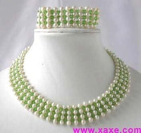 "16""/7.5"" handmade white pearl green crystal necklace set"