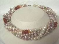 "Beautiful! 16"" 6 rows multi-color freshwater pearl necklace"