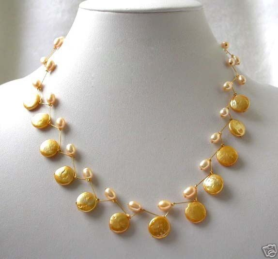 17'' handmade 12mm golden coin pearls necklace 14k yellow gold p