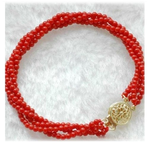Natural red 2.5mm 4rows blood coral bracelet 14k