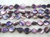 wholesale 10 strands 15mm Shell Beads loose string - purple