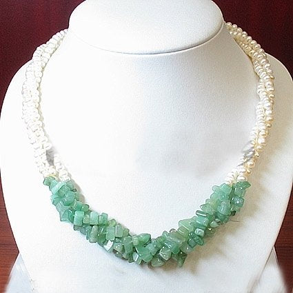 3ROWS white cultured pearl&Jades Necklace 925S