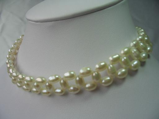 "15"" hand made lover choker rice pearl necklace"