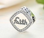 Sterling 925 silver charm faith heart bead pendant fits Pandora charm and European charm bracelet