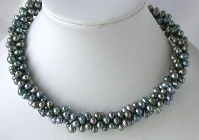 "16"" 3-rows 5*7mm peacock FW pearl necklace"