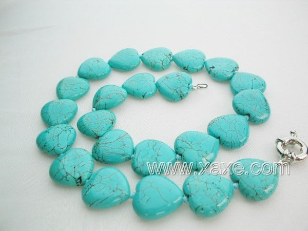 Cyan color turquoise bead necklace - heart shape