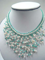 "17"" beauty 4-5mm white pearl knit with green turquoise necklace"