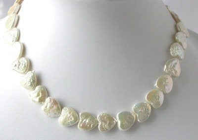 "16""12*12mm white heart biwa pearl necklace"