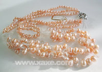 22'' pink pearl & crystal bead long necklace