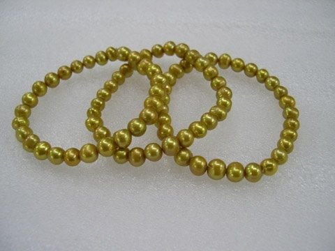 wholesale 3pcs champagne Cultured Pearl bracelet