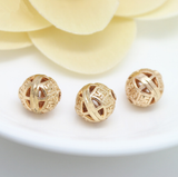 10 pcs 24k gold plated buddha brass spacer beads  brass caps brass connector