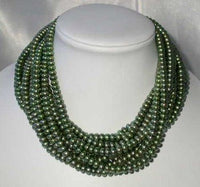 "Wholesale 5 pcs 16"" 6-7mm green pearl necklace"