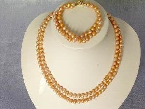 "Beautiful! 16""-17"" 6.4mm pink cultured FW pearl necklace"